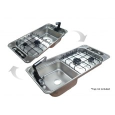 CAN FL1401GP Rectangular Two Burner Hob/Sink Combi