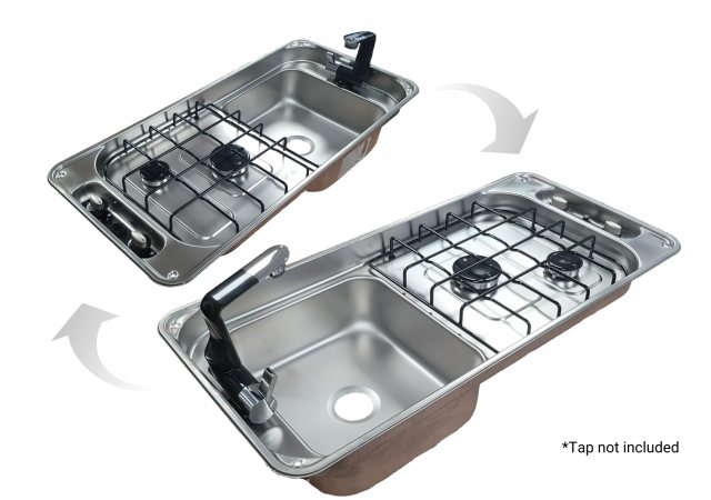 CAN Hobs & Appliances CAN FL1401GP Rectangular 2 burner hob with sink